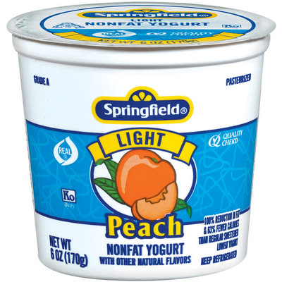 Springfield Light Peach Yogurt 6 Oz Cup