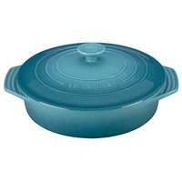 Le Creuset Stoneware 2.1-Qt. Covered Round Casserole Color: Caribbean