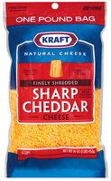 Kraft Natural Cheese Cheddar Sharp Finely Shredded Shredded Cheese 16 Oz Peg