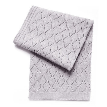 Esteffi Diamond Wool Blend Baby Blanket (Set of 2) Color: Heathered Gray