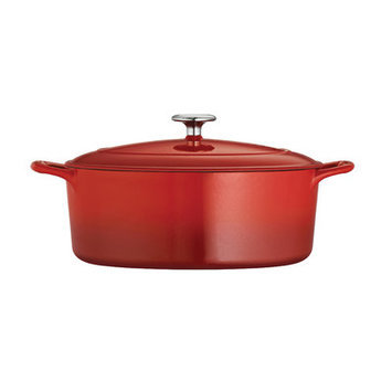 Tramontina Gourmet Enameled Cast Iron Covered Oval Dutch Oven - Gradated Red