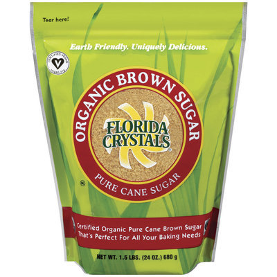 Florida Crystals Brown Pure Cane  Organic Sugar 24 Oz Stand Up Bag