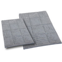 Textile Decor Castle 2 Piece 100% Cotton Chakkar Board Spray Latex Bath Rug Set, 24 H X 17 W and 34 H X 21 W