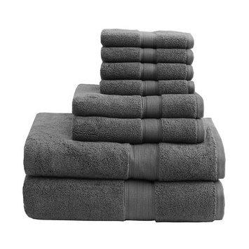 Madison Park Signature 800 GSM Cotton 8 Piece Towel Set Color: Gray
