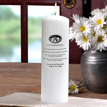 Cathys Concepts Personalized Irish Wedding Blessing Unity Candle in White