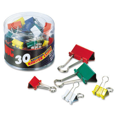 Officemate Binder Clips, Metal, Assorted Colors/Sizes