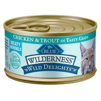 THE BLUE BUFFALO CO. BLUE™ Wilderness® Wild Delights™ Meaty Morsels Chicken & Trout Recipe For Adult Cats