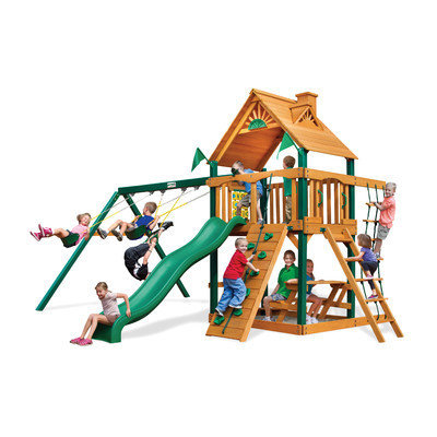 Gorilla Playsets Playground Equipment. Chateau II with Amber Posts Cedar Playset