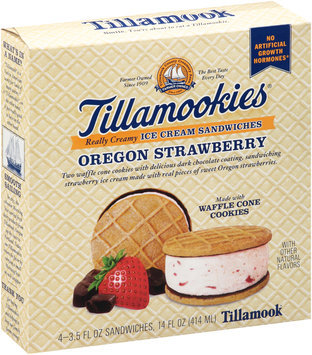 Tillamook® Tillamookies® Oregon Strawberry Really Creamy Ice Cream Sandwiches 4-3.5 fl. oz. Box
