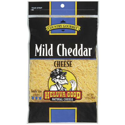 HELUVA GOOD Mild Cheddar Country Gourmet Shredded  Cheese 12 OZ PEG