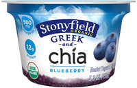 Stonyfield Organic™ Greek and Chia Blueberry Nonfat Yogurt 5.3 oz. Cup