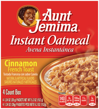 Aunt Jemima Cinnamon French Toast Instant Oatmeal 5.3 Oz Box