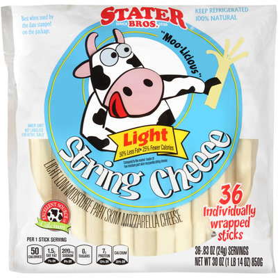 Stater Bros. Low Moisture Part Skim Mozzarella Light String Cheese 36 ct Bag