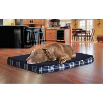 Furhaven Faux Sheepskin and Plaid Orthopedic Pet Bed Color: Midnight Blue, Size: Jumbo - 44