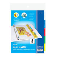 Bazic 3117-24 3-Ring Binder Dividers with 5-Insertable Color Tabs