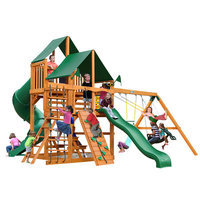 Gorilla Playsets Playground Equipment. Great Skye I with Amber Posts and Deluxe Green Vinyl Canopy Cedar Playset