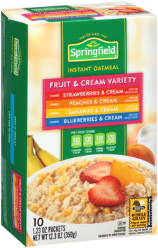 Springfield Fruit & Cream Variety Instant Oatmeal 10 Ct Box