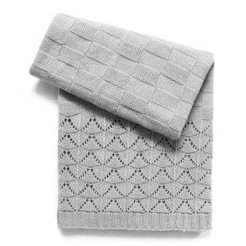 Esteffi Florence Wool Blend Baby Blanket (Set of 2) Color: Heathered Gray