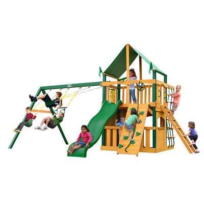 Gorilla Playsets Playground Equipment. Chateau II Clubhouse with Amber Posts and Sunbrella Canvas Forest Green Canopy Cedar Playset