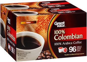Great Value™ 100% Colombian Medium 100% Arabica Coffee Single Serve Cups 96–0.33 oz. Box