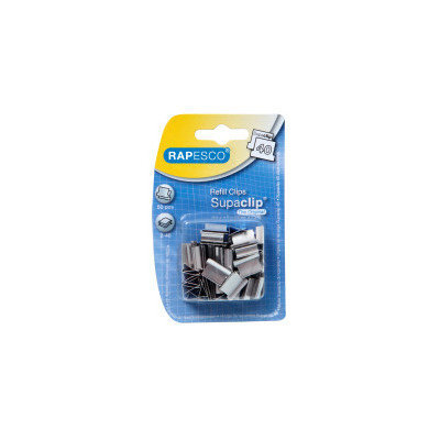 Rapesco Supaclip 40 Refill Clips for 40 Sheets of 80gsm Stainless Steel Ref RC4050SS [Pack 50]