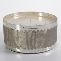 Zodax Etched Antique Silver Spotted Glass Scented Candle Bowl - Large
