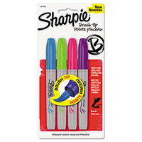 Sharpie Permanent Marker, Brush Tip, Assorted, 4/Set