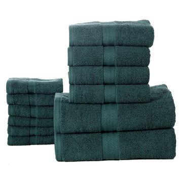 Affinity Linens Bano Senses 600 GSM Egyptian Cotton 12 Piece Towel Set, Teal Green