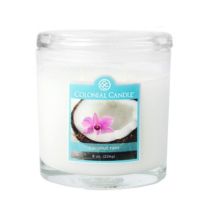 Colonial Candle 8-Ounce Scented Oval Jar Candle, Coconut Rain