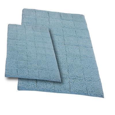 Textile Decor Castle 2 Piece 100% Cotton Summer Tile Spray Latex Bath Rug Set, 24 H X 17 W and 34 H X 21 W