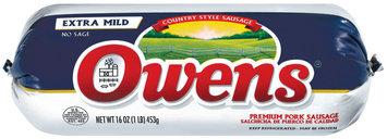 Owens Country Style Extra Mild No Sage Sausage Rolls 16 Oz Chub