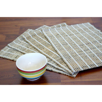 Leaf & Fiber Set of 4 Handwoven Natural White Placemats (India)