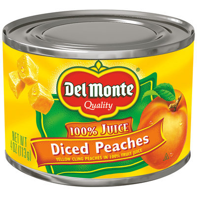 Del Monte™ Diced Yellow Cling Peaches in 100% Fruit Juice, 4 oz. Can