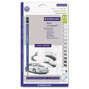 Staedtler 100G12CS Lumograph Drawing Pencils Sketch Set 12/ST