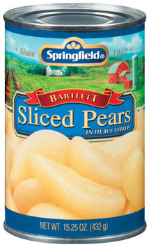 Springfield Sliced Bartlett In Heavy Syrup Pears 15.25 Oz Can