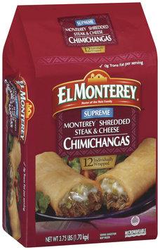 El Monterey Supreme Monterey Shredded Steak & Cheese 12 Ct Chimichangas 3.75 Lb Bag