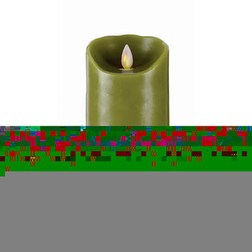 Forever Flame 64272 7 in. Flameless Pilar Candle in Green Smooth - Pack of 2