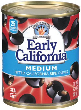 EARLY CALIFORNIA Medium Pitted California Ripe Olives 3.25 OZ CAN