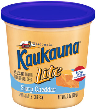 Kaukauna Lite Sharp Cheddar  Spreadable Cheese 7.2 Oz Tub