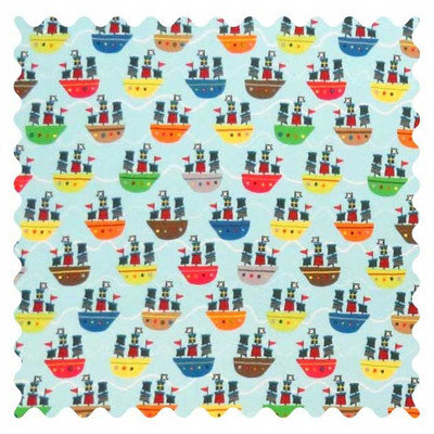Stwd Pirate Ships Fabric by the Yard Color: Aqua
