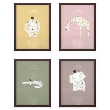 Littlelion Studio 4 Piece Royal Safari Paper Print Set Color: CC4
