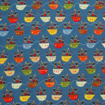 Stwd Pirate Ships Fitted Bassinet Sheet Color: Blue