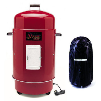 Brinkmann Red Gourmet Electric Smoker and Grill with Vinyl Cover