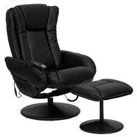 Alcott Hill Leather Heated Reclining Massage Chair & Ottoman Set