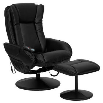 Alcott Hill Leather Heated Reclining Massage Chair & Ottoman Set
