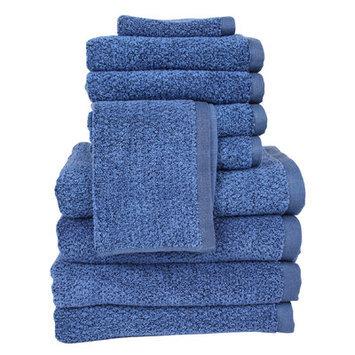 Fabbrica Home Diamond Jacquard Performance Core 10 Piece Towel Set Color: Navy Blue