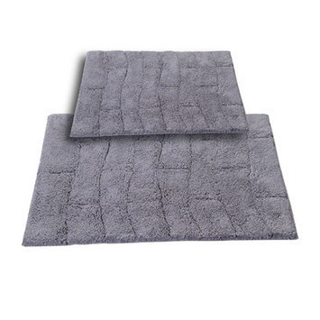 Textile Decor Castle 2 Piece 100% Cotton New Tile Spray Latex Bath Rug Set, 24 H X 17 W and 34 H X 21 W