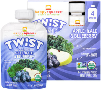 Happy Squeeze® Organic Twist Apple, Kale & Blueberry Blended Fruit & Veggie Snack 4-3.17 oz. Box