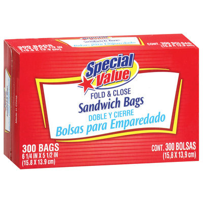 Special Value Sandwich Fold & Close Bags 300 Ct Box