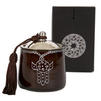 Casablanca Market Khamsa Glass Candle, Brown